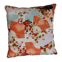 Vintage Kimono Pillow - Vintage silk kimono fabric in a splashy floral and fan motif makes a glamorous pillow. Burnt orange silk backing.