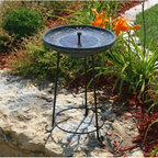 Smart Solar - Smart Solar Somerset Verdigris Solar Bird Bath Fountain Multicolor - SS20740MO1 - Shop for Garden Bird Baths from Hayneedle.com! Certain to please with an elegant verdigris bowl resting upon a sturdy wrought iron stand the Smart Solar Somerset Solar Verdigris Bird Bath Water Fountain is a lovely choice. This fountain operates in direct sunlight using a solar panel to power a low-voltage water pump. It requires no wiring; simply install and enjoy. As it uses the power of the sun there are no operating costs. The one year manufacturer warranty guarantees long-lasting quality. Birds are attracted to the sounds of splashing water and moving water does not become stagnant; therefore mosquitoes are less likely to lay eggs in the water fountain. You can leave the bird bath out year-round; simply remove the pump and solar panel for storage and replace them with the included reservoir cover. The 2-inch bathing depth holds approximately 1 to 1.5 gallons of water. The solar panel sits in the bowl of the bird bath. Due to the fact that clouds have a filtering effect on the sun the panel may not operate -- or operate efficiently -- on cloudy days. But birds will continue to enjoy the birdbath regardless of the weather. And you'll appreciate the tranquil beauty this birdbath brings to your garden area. About Smart SolarDriven by a strong belief in the environmental benefits of solar power and the realization that consumers are becoming increasingly environmentally aware with an interest in buying solar-powered products Smart Solar was created in 2003. Based near Oxford in the U.K. Smart Solar has offices in the U.S. and Germany and a manufacturing facility in China. Smart Solar offers products including solar pumps water features lights ventilators chargers and specialty garden items. With such a wide range of solar-powered products Smart Solar uses an equally wide range of materials to make them including terra cotta ceramic copper slate glass aluminum resin and st