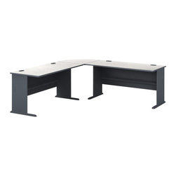 """BBF - Bush Series A 3-Piece L-Shape Computer Desk in Slate - Bush - Modular Office Configurations - WC8460APKG1 - Bush Series A 60"""" Wood Computer Desk in Slate (included quantity: 2) Efficiency and simplicity are the essences of the impressive Bush Series A 60"""" Pewter Desk. This generous desk is a sturdy yet inviting workspace for any office suite, and will blend beautifully with any Series A Collection piece.  Features:"""