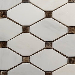 White Carrara - Dark Emparador Dot Diamond Mosaic Tile - Size: 11''x11''