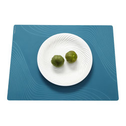 Modern-twist - Placemat - Tide, Teal - Made from food-grade silicone, the Modern-twist Studio placemat is available in a range of gorgeous solid colors that complement patterned dishes and other busy tabletop items. Easy-to-clean, non-porous, germ-free surface.