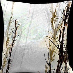 Lama Kasso - Impressions Very Pale Green with Dark Brown Foliage 18 x 18 Microsuede Pillow - -Microsuede Lama Kasso - 155S