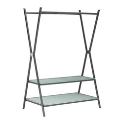 Zuo Modern - Zuo Modern Xert Modern Bedroom Coat Shelf X-040058 - Organize the modern way with the Xert coat shelf. The sturdy metal frame with tempered glass shelving helps organize tastefully in any room.