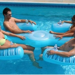 RAVE Sports Paradise Lounge Pool Float - With a name like RAVE Sports Paradise Lounge Pool Float you know you can expect an experience so revitalizing, so unbelievably comfortable that you'll never want to get out of the pool! This aqua float has all the features you could want in a lounger. Four cup holders, inflatable, pillowy headrests, and comfy mesh seating for four people to relax, talk and have a drink. This is the sort of thing that makes life worth living. Made from durable 16-gauge PVC, UV-stabilized for maximum performance and durability. Warning: Always act responsibly and provide supervision for children and others using the product. Read Owner's Manual for full list of safety instructions.About RAVE SportsBringing family and friends together to have serious and safe fun in the water is what drives RAVE Sports. Pleasing to just one or the whole group, RAVE products appeal to water lovers of all ages. RAVE Sports, founded in Minnesota, land of 10,000 lakes, is firmly committed to providing safe and responsible fun and offers water equipment that meets their standards for high-quality production and safety - fit for their own families! Take it easy or live it up with water equipment from RAVE Sports.