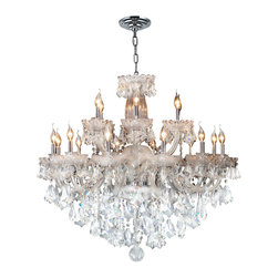 Worldwide Lighting - Olde World Chandelier 39 In. - 18 Light in Chrome - This 18-light Olde World Collection chandelier in Chrome finish and Clear crystal is a stunning addition to your home and is dressed with our 30% PbO Premier Crystal glass. Worldwide Lighting Corporation is a premier designer manufacturer and direct importer of fine quality chandeliers, surface mounts, and sconces for your home at a reasonable price. You will find unmatched quality and artistry in every luminaire we manufacture.