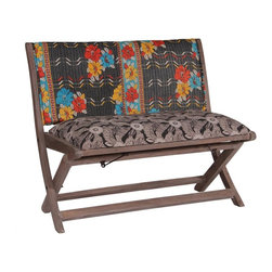 Modelli Creations - One Of A Kind Kantha Bench In Black Print - This bench is made of shesham wood and folds for easy stow away. Upholstered with beautiful kantha fabric this bench will add interest and color to any space