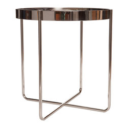 "Polished Steel Side Table - This industrial style round top side table comes with a polished steel frame. Also available in brushed gold.Dimensions: 22""W x 22""D x 20""H"