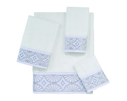 Avanti Linens - Gatsby 4 Piece Cotton Towel Set by Avanti Linens, White - Evoke a scene from the roaring twenties in your bath with this jazzy art deco towel set. The plush Gatsby towel set features a border emblazoned with geometric art deco embroidery embellished with rhinestones.