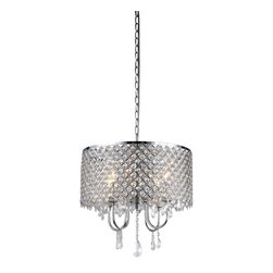 Warehouse of Tiffany - Deluxe Crystal Chandelier - Add some elegance to your home decor with this crystal chandelier. This dynamic lighting element features generous rows of cascading crystals to catch the light and will be sure to illuminate your home. Setting: IndoorsFixture finish: ChromeMaterials: CrystalNumber of lights: Four (4)Requires: Four (4) 60 watt bulbs (not included)Shade dimensions: 17 inches high x 17 inches wide x 10 inches longThis fixture does need to be hard wired. Professional installation is recommended.CSA Listed, ETL Listed, UL Listed