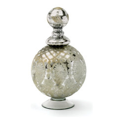 Go Home - Large Glass Orb Decanter - This orb-shaped decanter adds elegance to any surface. Crafted from glass, it features an antiqued etched silver finish and a spherical glass stopper.Perfect for gift idea.