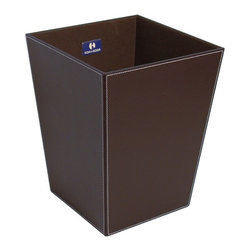 WS Bath Collections - Ecopelle 2603BK Waste Basket, Darkbrown - Ecopelle 2603 by WS Bath Collections 16.9 x 10.2 x 18.9 Waste Basket, External Coating Synthetic Leather, Linen Synthetic Cloth, Structure in MDF Fibreboard