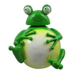 Adorable Bobble Head Fat Frog Money Bank Piggy - This adorable cold cast resin bobble head green frog figurine doubles as a piggy bank. The frog measures 6 inches tall, 5 1/4 inches wide and 5 inches deep. The bank empties via a twist off plastic piece on the bottom. He is hand-painted, and makes a great gift for frog lovers.