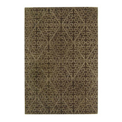 MARTHA STEWART RUGS - Strolling Garden Coffee and Brown Rectangular: 5 Ft. x 8 Ft. Rug - - Derived from a 17th-century Italian fabric document, the surprisingly modern pattern in Strolling Garden replicates outlined laid work called couching. In the original archival textile, this technique involves cording applied to satin cloth; in this modern version, viscose yarns are used to outline the same lustrous pattern against Strolling Garden�s cut-pile background of New Zealand wool.  - Please note this item has a 30-day manufacturer's limited warranty that covers product defects. Inspect your purchase upon delivery & notify us immediately with any concerns. MARTHA STEWART RUGS - MSR3258C-6