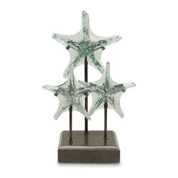 Palecek - Glass Triple Starfish - Recycled glass triple starfish on a recycled metal stand. Plantation grown mahogany base.