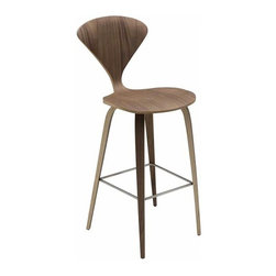 Nuevo Living - Satine Bar Stool, Natural Walnut - Satine bar stool features a wood base and a seat that is made of laminated plywood of graduated thickness from 15 to 5 layers at the perimeter of the shell. The molded plywood counter stools, bar stools, and chairs have been seen in some stylish settings. The Satine bar stool is a perfect blend of comfort, originality and style.