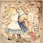 "Alice In Wonderland - Flying Cards - This 4 x 4"" handmade porcelain tile is inspired by the original John Tenniel illustrations for Alice In Wonderland.  B. A. Schmidt Arts"