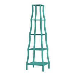 Kathy Kuo Home - Chamberlain Hollywood Regency Turquoise 5 Tier Etagere - Your cherished tchotchkes deserve a display as lovely as they are. This French inspired Hollywood shelf takes the job in stride. With delicate wood construction and gleaming white lacquer, the airy five tiers seem to float above one another. Modern finishing, but with a classic feel means this piece is a great fit in almost any décor. Protected by 1 year warranty