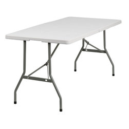 """Flash Furniture - 30""""W x 60""""L Plastic Bi-Folding Table - Flash Furniture's 30 in. W x 60 in. L Commercial Grade Folding Table features a durable stain resistant blow molded top and sturdy frame. The low maintenance blow molded top cleans easily. This 5 ft. table folds in half for easy transporting and legs lock in to place in a SNAP for easy set-ups. This table can be used as a temporary seating solution or set-up in a permanent location for everyday use."""