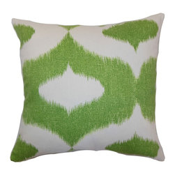"The Pillow Collection - Leilani Ikat Pillow Green 18"" x 18"" - This lovely throw pillow is a refreshing and vibrant accent piece. The traditional ikat print pattern is in green while the background is white. If you've been planning to redecorate your space, this square pillow is a great choice. This 18"" pillow is easy to incorporate with other colors, styles and themes. The fabric of this decor pillow is made from 55% linen and 45% cotton fabric. Hidden zipper closure for easy cover removal.  Knife edge finish on all four sides.  Reversible pillow with the same fabric on the back side.  Spot cleaning suggested."