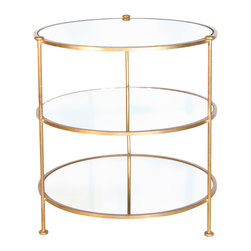 Kathy Kuo Home - DeMille Hollywood Regency Gold Round Side Table - A trio of tempting round mirrors stands ready to serve refreshments, display favorite photographs or hold a budding bouquet of wildflowers. Finished in gold leaf, this end table adapts to any area in your home, reflecting your romantic side.