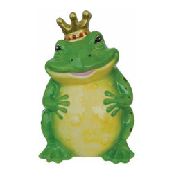 WL - 8.5 Inch Green Smiling Frog Prince with Crown Ceramic Money Bank - This gorgeous 8.5 Inch Green Smiling Frog Prince with Crown Ceramic Money Bank has the finest details and highest quality you will find anywhere! 8.5 Inch Green Smiling Frog Prince with Crown Ceramic Money Bank is truly remarkable.