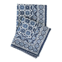 Pine Cone Hill - Resist Octagon Indigo Throw - Inspired by traditional Indian kantha quilts, this cotton throw features a block-style print on an ink-colored background and contrast top stitching.
