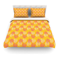 """Kess InHouse - Apple Kaur Designs """"Wild Summer Dandelions"""" Gold Circles Cotton Duvet Cover (Que - Rest in comfort among this artistically inclined cotton blend duvet cover. This duvet cover is as light as a feather! You will be sure to be the envy of all of your guests with this aesthetically pleasing duvet. We highly recommend washing this as many times as you like as this material will not fade or lose comfort. Cotton blended, this duvet cover is not only beautiful and artistic but can be used year round with a duvet insert! Add our cotton shams to make your bed complete and looking stylish and artistic! Pillowcases not included."""