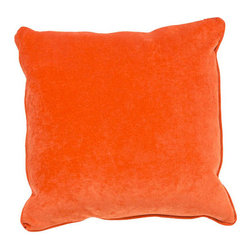 Jaipur - Allure Orange 20-Inch Decorative Pillow - - The Allure collection is sumptuous and vibrant. With its super soft velvety texture and piped edges it is refined fun in simple bold colors      - Care Instructions: Remove the throw pillow's cover if it is removable. Wash the cover separately from the pillow. Pre-treat badly soiled or stained areas on the pillow cover with a color-safe prewash spray. Rub the spray into the stain with a damp sponge. Wash the pillow cover or the whole pillow on a gentle-wash cycle in warm water with a very mild detergent. Detergent for delicate fabrics or baby clothes is usually suitable. Remove the pillow or pillow cover as soon as the washing machine has ended the cycle and has shut off. Hang the pillow or cover up to dry in a well-ventilated area. If the care label specifies that the item is dryer-safe place the pillow or pillow cover in the dryer and tumble dry on low heat. Fluff the pillow once it is dry in order to maintain its form. Don't use the pillow until it is completely dry. Damp pillows will attract dirt more easily  - Made in USA Jaipur - PLC100901