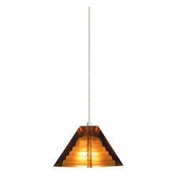 Tech Lighting - Tech Lighting 700KPYRAC KPyramid Pend amber, ch - Classic pyramid shape enhanced with a subtle step pattern inside. Made of pressed glass.  Includes lowvoltage, 35 watt halogen bipin lamp and six feet of fieldcuttable suspension cable.