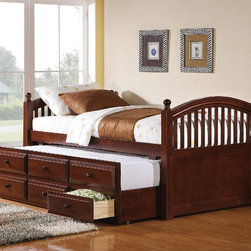 """Coaster - Traditional Twin Size Daybed in Cappuccino - This twin size bed is multifunctional, offering a comfortable place to lounge and read, and a great sleeping spot by night. Three spacious storage drawers below the trundle offer lots of space for clothing and extra linens, so you can make the most of your room. This daybed is available in a cappuccino finish.; Traditional Style; Cappuccino finish; Some assembly required.; Dimensions: 80.75""""L x 42.75""""W x 37.5""""H"""