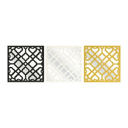 "IMAX CORPORATION - Prinstly Wall Mirrors - Set of 3 - Graphic, bold pattern overlaps the set of three Prinstly wall mirrors in black, canary and white. Buy multiple sets to make a dramatic statement. Set of 3 in various sizes measuring around 17""L x 3.25""W x 17.75""H each. Shop home furnishings, decor, and accessories from Posh Urban Furnishings. Beautiful, stylish furniture and decor that will brighten your home instantly. Shop modern, traditional, vintage, and world designs."