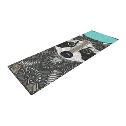 """KESS InHouse - Art Love Passion """"Racoon in Grass"""" Gray Teal Yoga Mat - Release your inner yogi in style with these artistically unique yoga exercise mats. These mats allow you to stretch and pose freely and comfortably as they are 72"""" x 24""""! Made of a durable, textured non-slip backing foam, these 1/4"""" thick mats will cushion your body to allow you to child's pose and more during your workout routine. Carry your lightweight mat in a polyester blend bag with an adjustable shoulder strap for easy travel and clean up. These yoga exercise mats can be cleaned with a swipe of a towel and mild soap."""