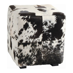 Arteriors - Hugo Ottoman - Eclectic style — cubed! Enhance your home with this chic yet rustic piece, crafted from large squares of black and white hide in a patchwork pattern.