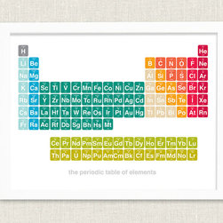 Modern Bright Periodic Table by Halfpence Design - It's never too early to learn your periodic table! This print has such pretty colors.