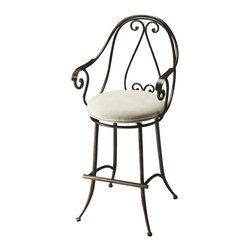 Butler Furniture - Berkshire Metal Bar Stool - Sometimes only the best will do. This stool quietly screams craftsmanship and quality. With classic curves, stately style and a comfortable cushion, expect this stool to bring out the best in your room.