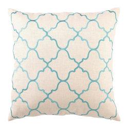D.L. Rhein - D.L. Rhein Turquoise Moroccan Tile Linen Pillow - Turquoise Moroccan Tile Linen Pillow by D.L. Rhein.