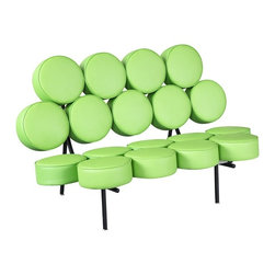 Lemoderno - Fine Mod Imports  Circle Sofa, Green - This sofa is one of the earliest manifestations of Pop Art in furniture design. Its unique form makes it one of the few truly unconventional sofas in design history. The basic version consists of 18 individual round cushions mounted on transverse braces in the seat and back. A connecting element makes it possible to join individual sofas together, extending the length as desired Steel Base With Italian Leather Cushions    Assembly Required