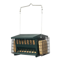 Heritage Farms - Mini Seeds 'N More - Double sided to attract more birds. Two side suet baskets feature snap on latch for easy filling. Durable powder coated steel body. Metal perch. No waste seed saver baffle. 5.5 lb. mixed seed capacity.