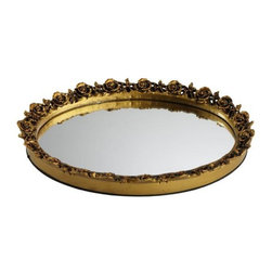 Home Decorators Collection - Oval Rose Mirror Tray - Freshen up the vanity with cheerful roses and a tray that can hold your favorite belongings. Whether as a catch-all for jewelry or perfume bottles, our Oval Rose Mirror Tray adds casual refinement. Wipe clean. Available in various finishes.