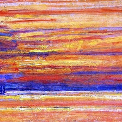 """Art MegaMart - Frederick Childe Hassam Sailing Vessel at Sea, Sunset - 18"""" x 27"""" Premium Canvas - 18"""" x 27"""" Frederick Childe Hassam Sailing Vessel at Sea, Sunset premium canvas print reproduced to meet museum quality standards. Our museum quality canvas prints are produced using high-precision print technology for a more accurate reproduction printed on high quality canvas with fade-resistant, archival inks. Our progressive business model allows us to offer works of art to you at the best wholesale pricing, significantly less than art gallery prices, affordable to all. We present a comprehensive collection of exceptional canvas art reproductions by Frederick Childe Hassam."""