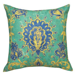 """Manual - Pair of """"Green Mosaic"""" Floral Print Indoor / Outdoor Throw Pillows - This pair of 18 inch by 18 inch woven throw pillows adds a wonderful accent to your home or patio. The pillows have (No Suggestions) weatherproof exteriors, that resist both moisture and fading. The pillows feature the same """"Green Mosaic"""" Victorian floral print on both front and back. They have 100% polyester stuffing. These pillows are crafted with pride in the Blue Ridge Mountains of North Carolina, and add a quality accent to your home. Original artwork by Fabrice de Villeneuve. They make great gifts for bird lovers."""