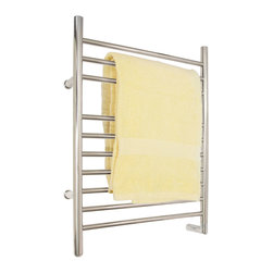 "24"" Contemporary Hardwired Towel Warmer - This towel warmer has a contemporary design and is meant to be Hardwired. Its ten straight towel rails are spaced to accommodate thin items like washcloths and hand towels, as well as thicker items such as extra long towels and bath robes."