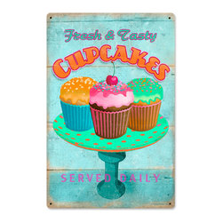 Past Time Signs - Cupcakes Fresh Vintage Metal Sign - This vintage metal sign is hand made with pride in the USA using heavy gauge American steel. The high-resolution graphics are sublimated and powdercoated for a long-lasting durable finish and a great vintage look & feel. It's perfect for your %customfield:genre% Man Cave, Game Room, Office, or anywhere you want to show love for your favorite things.