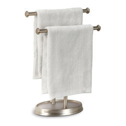 Two-Tiered Towel Tree - Present fresh hand towels to your guests with our Two-Tiered Towel Tree. This plated metal stand has a minimalist design that focuses on function without sacrificing style.