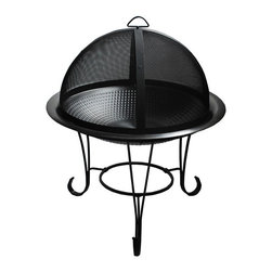 Fire Sense - Stainless Steel Cocktail Fire Pit - Constructed of commercial grade hand hammered stainless steel, our Stainless Steel Cocktail Fire Pit enhances any backyard entertaining environment. This unit comes complete with a domed high temperature black powder coated fire screen and screen lift tool. The stainless steel fire bowl sits in a decorative black steel base.