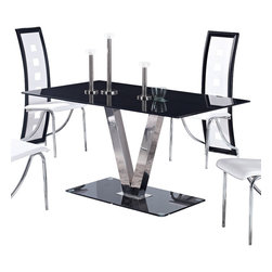 Global Furniture - Global Furniture USA 551DT Black Glass Dining Table w/ Stainless Steel Legs - This contemporary glossy black table will compliment any dining room.  It features a rectangular shaped tempered glass table top, V shaped silver legs and a glossy black base for an upgraded look.