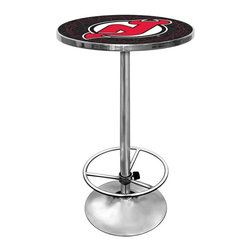 Trademark Global - Round Pub Table w NHL New Jersey Devils Logo - Great for gifts and recreation decor. 0.125 in. Scratch resistant UV protective acrylic top. Full color printed logo is protected by the acrylic top. Table top is trimmed with chrome plated banding. 1 in. Thick solid wood table top. Chrome base with foot rest and adjustable levelers. 28 in. L x 28 in. W x 42 in. H (72 lbs.)This National Hockey League officially licensed pub table is the perfect for your game room on Hockey Night.