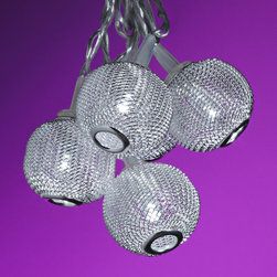 """Lamps Plus - Contemporary Silver Metal Mini Globes 10-Light LED String Party Lights - Great for entertaining these party lights includes ten lights with strings to hang and drape as desired. Mini silver metal globes surround each white LED bulb for gleam and shine. Energy efficient with steady light. Indoor use only. Compatible with low voltage systems. Mini silver metal globes. Ten light string lights. Includes 10 LED white bulbs with steady light. Indoor usage only. Low voltage. Includes 3.6 watt plug-in electronic transformer. Includes 16 feet of wire from transformer to first light. Includes 11"""" of wire from globe to globe. Globes are 1 1/4"""" wide.  Ten light string lights.  Mini silver metal globes.  Includes 10 LED white bulbs with steady light.  Indoor usage only.  Low voltage.  Includes 3.6 watt plug-in electronic transformer.  Includes 16 feet of wire from transformer to first light.  Includes 11"""" of wire from globe to globe.  Mini globes are 1 1/4"""" wide."""