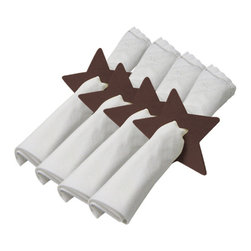 The Felt Store - Felt Star Napkin Holder - Set Of 4 Pieces - Dark Brown - This Star shaped napkin holder will brighten up your dining table while holding your napkins together. The napkin holder is uniquely designed with a smaller star-shape punched out in the middle; it measures approx. 4 inches x 4 inches (102mm x 102mm) and is made of our environmentally friendly 5mm designer felt. The Napkin holder is available in white, apple green, dark brown and dark gray and comes in a set of four stars. *NAPKINS ARE NOT INCLUDED*