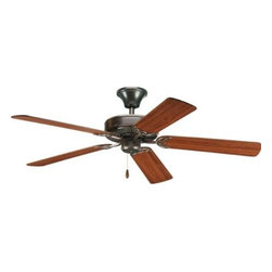 "Progress Lighting - Progress Lighting P2501-20 Air Pro 52"" Ceiling Fan in Antique Bronze - blades In - 52"" Fan with 5 blades and 3-speed reversible motor. Antique Bronze fan with reversible Medium Cherry or Classic Walnut blades.Blades Included: Yes Collection: Air Pro Energy Star Compliant: Yes Finish: Antique Bronze Height: 13-1 2"" Length: 9-3 4"" Number of Blade: 5 Shop by Style: Traditional Suggested Room Fit: Bedroom, Dining Room, Kitchen Nook, Living Room, Office Functional Type: Ceiling Fans Weight: 16.4 Width: 52""{General Energy Star certified 30 Year Limited Warranty {Blades Five blades Reversible 12 Degree pitch Sure Connect blade attachment system Screws preinstalled in blades for attachment to motor arms Special guides align blades to motor arms Preinstalled rubber isolation pads minimize vibration noise MDF blade material {Motor Triple capacitor speed control manual reverse control 153mm dia x 14.5mm high Pull chain on brushed nickel (-09) is chrome with a maple fob, polished brass (-10) is polished brass with a medium oak fob and (-10W) is polished brass with white fob , white (-30 and -30W) is chrome with a white fob, and all the rest have antique brass chains with oak fob's. {Mounting Dual ceiling mounting on downrod, or close to ceiling Quick Install canopy Installs without removing J-box screws Holds fan for wiring during installation Dual-mount for downrod or close to ceiling mounting A 3 4""x 4-1 4"" downrod is included. Longer accessory downrods can be ordered separately Standard canopy designed for sloped ceilings up to 45 degrees (12:12 ceiling pitch) using downrod supplied or accessory downrods Oversized, textured die cast hanger ball reduces noise and wobble vibrations Canopy covers standard recessed 4"" octagonal outlet box Mounting hardware is included {Electrical 80"" Lead wires included Prewired {Labeling UL listedEnergy Information at High Speed: Airflow 5182 Cu. Ft. Per Minute, Electricity Use 62 Watts (Excludes Lights), Airflow Efficiency 84 Cu. Ft. Per Minute Per Watt. An outlet box assembly designed for fan installation is required (not included)"